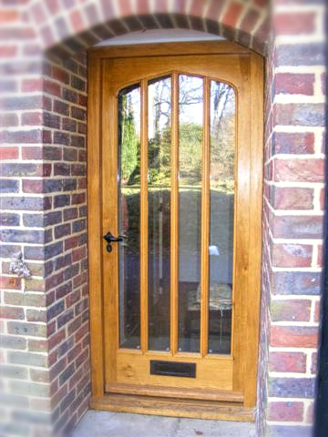 Oak front door, curved header, arched, Listed buliding, conservation grade, traditional, solid wood, hi specification, bespoke, Oak, hard wood, Joinery, double glazed, glass, frame